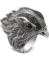Thomas Sabo Blackened Sterling Silver Ring w/Black Cubic Zirconia - Metálico