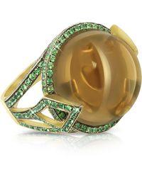 Sho London 18k Gold V-seal Smoky Quartz Feodora Ring - Brown