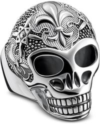 Thomas Sabo - Sterling Silver Lily Skull Ring - Lyst