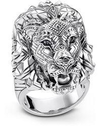 Thomas Sabo Blackened Sterling Silver Lion Ring w/Black Zirconia Pavè - Mettallic