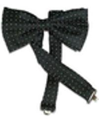 FORZIERI Polkdot Silk Pre-tied Bowtie - Black