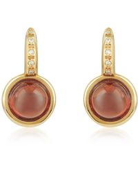 Mia & Beverly - Garnet And Diamond 18k Rose Gold Earrings - Lyst