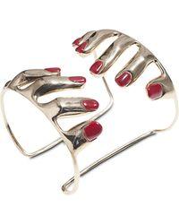 Bernard Delettrez 10 Fingers Bronze Cuff Bracelet w/ Enamelled Nails - Metálico