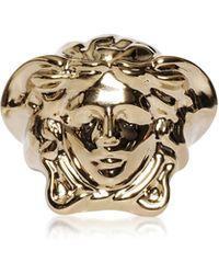 Versace - Light Gold Metal Medusa Ring - Lyst
