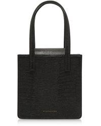 Marge Sherwood - Black Lizard Embossed Leather Grandma Tote Bag - Lyst