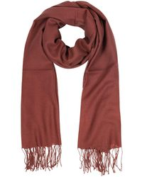Mila Schon - Brick Red Wool And Cashmere Fringed Stole - Lyst
