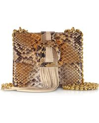 Ghibli Fringed Python Leather Shoulder Bag - Neutro
