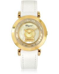 Ferragamo - Minuetto Gold Ip Stainless Steel Case And White Leather Strap Women's Watch - Lyst