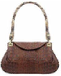 Fontanelli - Brown Croco-embossed Leather Flap Bag W/python Trim - Lyst