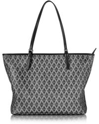 Lancaster Ikon Printed Coated Canvas And Leather Tote - Black