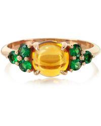 Mia & Beverly Ring aus 18k Rosegold mit Quartz und Saphir - Gelb