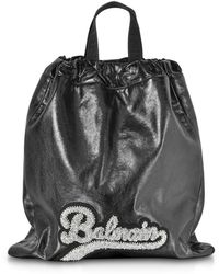 Balmain Black Leather Blink Backpack
