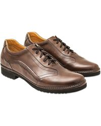 Pakerson Cocoa Italian Handmade Leather Lace-up Shoes - Brown