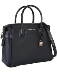 Michael Kors Mercer Medium Pebbled Leather Crossbody Bag- Black