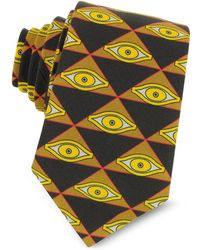 Givenchy Eyes and Triangles Printed Cotton Narrow Tie - Schwarz