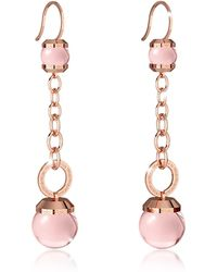 Rebecca - Hollywood Stone Rose Gold Over Bronze Dangle Earring W/pink Hydrothermal Stone - Lyst
