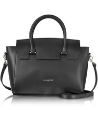 Lancaster Camelia Leather Tote Bag W/detachable Shoulder Strap - Black