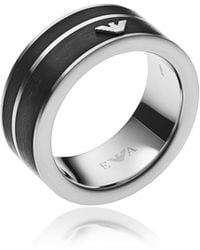 Emporio Armani Black Stainless Steel Signature Men's Ring - Metálico