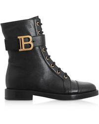 Balmain Black Leather Ranger Ankle Boots