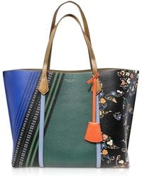 Tory Burch Perry Shopping Bag in Pelle Grainy a Fiori con Charm - Verde