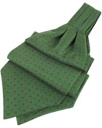 FORZIERI Paisley Print Pure Silk Ascot - Green