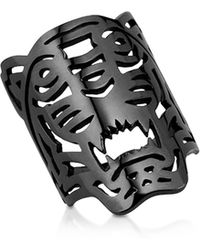 KENZO - Ruthenium Plated Sterling Oversized Tiger Ring - Lyst