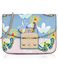 Furla - Butterfly Printed Veronica Leather Metropolis Mini Crossbody Bag - Lyst