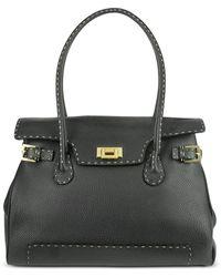 Fontanelli - Black Handstitched Pebble Leather Large Satchel Bag - Lyst