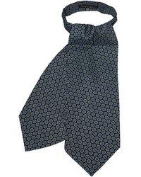 FORZIERI Daisy Printed Twill Silk Ascot Tie - Blue