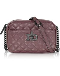 Roccobarocco Rb Releve Quilted Eco Leather Camera Bag - Purple