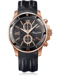 Thomas Sabo Rebel Race Rose Gold Stainless Steel Men's Chronograph Watch w/Black Leather Strap - Negro