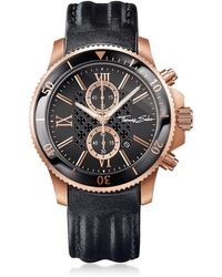 Thomas Sabo Rebel Race Rose Gold Stainless Steel Men's Chronograph Watch w/Black Leather Strap - Multicolor