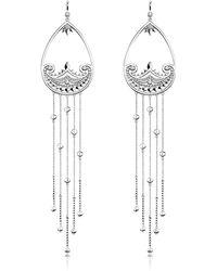 Thomas Sabo Sterling Silver Paisley Extra Long Pendant Earrings w/ White Zirconia - Mettallic