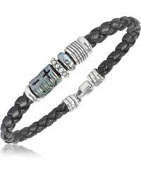 Tedora Armband aus geflochtenem Leder und Silber - Mettallic
