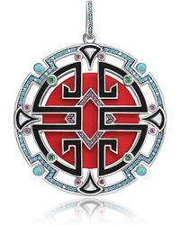 Thomas Sabo Asian Ornaments Charm Rotondo in Argento 925 Smaltato e Zirconi Blu - Rosso