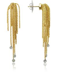 Orlando Orlandini - Flirt - Diamond Drops 18k Yellow Gold Earrings - Lyst