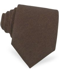 FORZIERI Solid Brown Cashmere Extra-long Tie