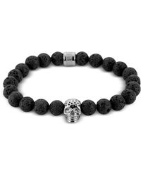 Northskull Lavastone & Perforated Silver Skull Charm Bracelet - Black