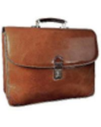 L.A.P.A. Classic Sand Leather Briefcase - Multicolor