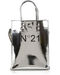 N°21 Metallic Leather Small Tote Bag w/Canvas Strap - Metálico