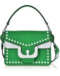Coccinelle Ambrine Graphic Studs Color Block Leather Crossbody Bag - Verde