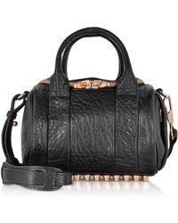 Alexander Wang - Mini Rockie Black Pebbled Leather Satchel W/rose Gold Studs - Lyst