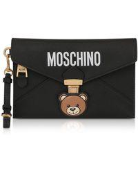 Moschino Teddy Bear Black Leather Clutch W/wristlet