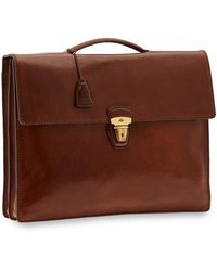 The Bridge Story Uomo Genuine Leather Top-handle Men's Briefcase - Brown