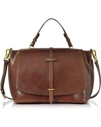 The Bridge Brown Leather Dual Function Oversized Satchel Bag