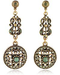 Alcozer & J Drop Earrings w/Rough Emeralds - Mettallic