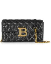 Balmain Quilted Leather B-Smartphone Case w/Chain Strap - Negro