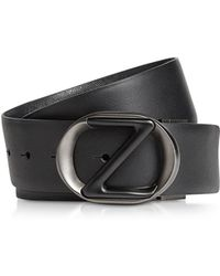 a4e5943e Black Smooth & Saffiano Leather Adjustable And Reversible Men's Belt