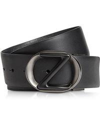 Ermenegildo Zegna Black Smooth & Saffiano Leather Adjustable and Reversible Men's Belt