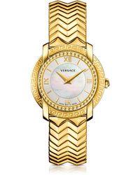 Versace DV25 Damenuhr in Gold mit Zifferblatt aus Perlmutt - Mettallic